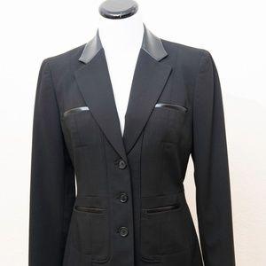 ANNE KLEIN Black Blazer with Faux Leather Trim - S